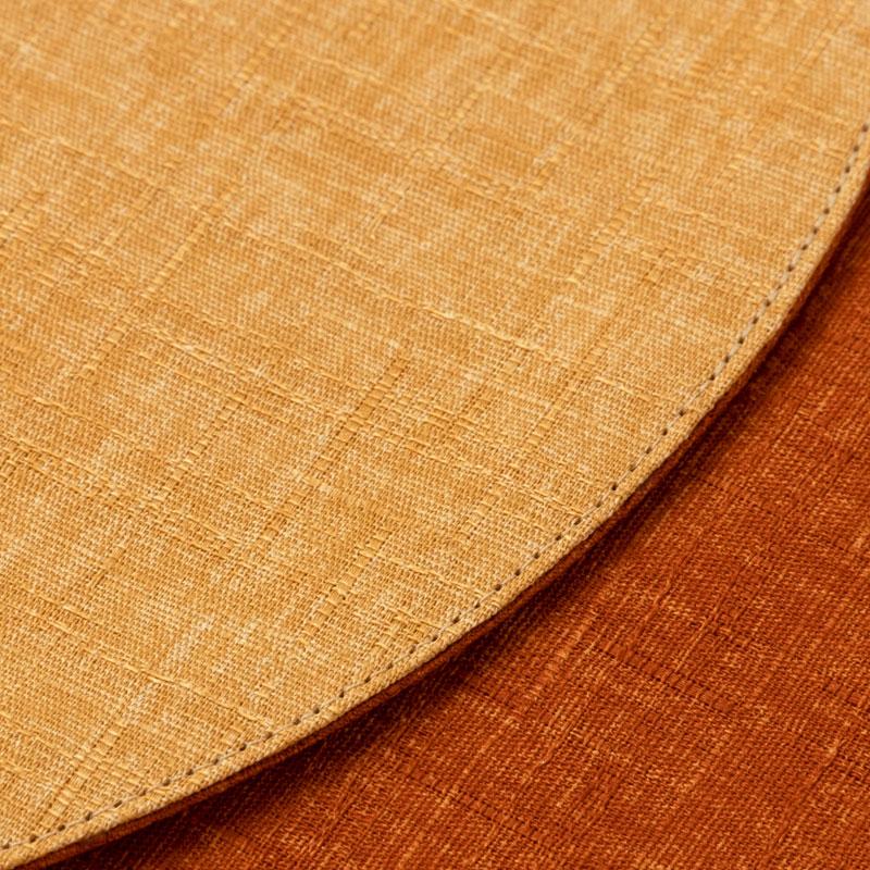 百道発信 四季彩サークルマットM 橙 (IKI-1429) 直径26cm リバーシブルティーマット 福岡県の布製品 Fabric tea mat, Fukuoka craft