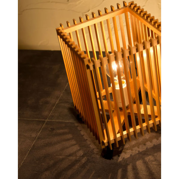 和風スタンドライト 行灯 廉(小) ren-S (A516-O) 杉材と鉄の照明器具 LED電球対応 Japanese style floor lamp made of cedar wood and iron