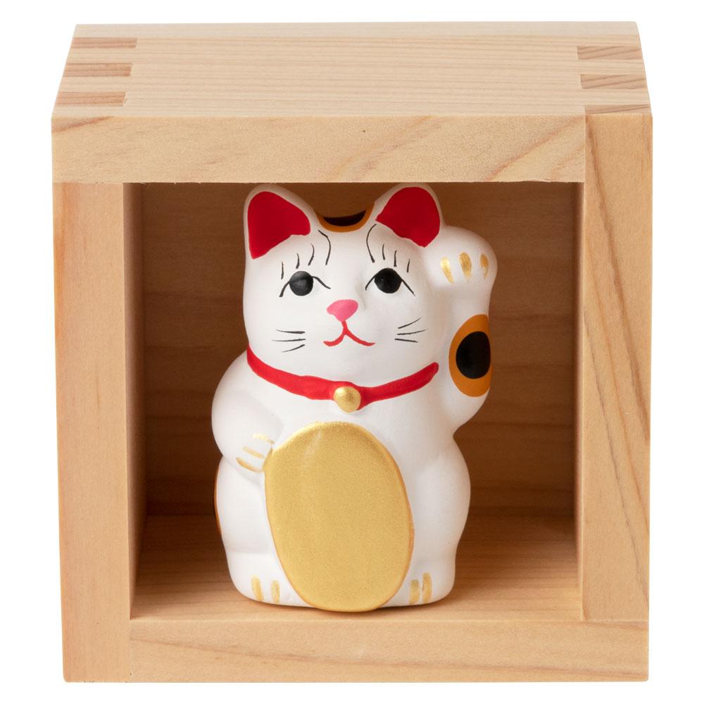 ますます福を招く ひのき枡入り常滑招き猫おみくじ 左手上げ 白 ちょっとしたスペースに飾れる縁起物 Ceramic fortune, Lucky cat