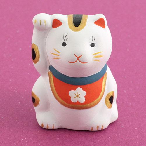 福招き猫おみくじ 白猫 日本市 Ceramic fortune, Lucky cat
