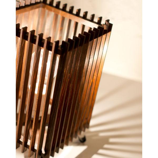 和風スタンドライト 行灯 廉(小) ren-S (A536-O) 民芸塗り仕上げ 杉材と鉄の照明器具 LED電球対応 Japanese style floor lamp made of cedar wood and iron