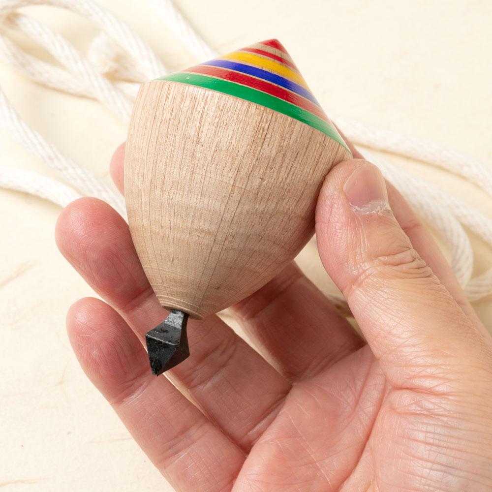 九州 肥後こま・小(投げ独楽) 鉄芯こま 福岡県の木工品 Throw top, Higo koma, Fukuoka craft