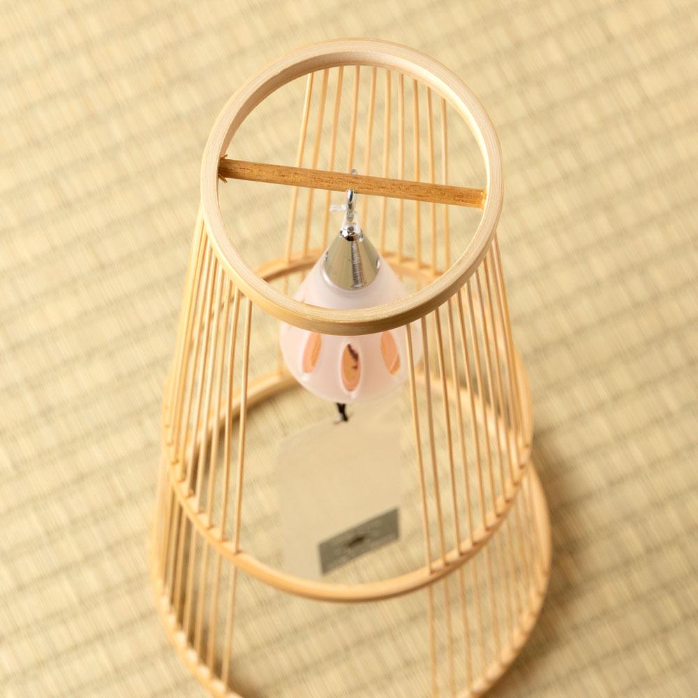 駿河竹千筋細工×東京ベル 置き風鈴(ピンクゴールド・ショート) 消音機能付き竹細工の置き風鈴 Wind chime