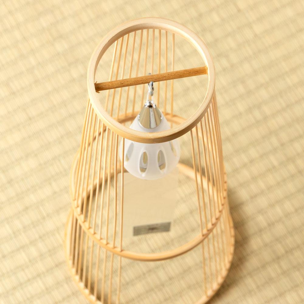 駿河竹千筋細工×東京ベル 置き風鈴(シルバー・ショート) 消音機能付き竹細工の置き風鈴 Wind chime