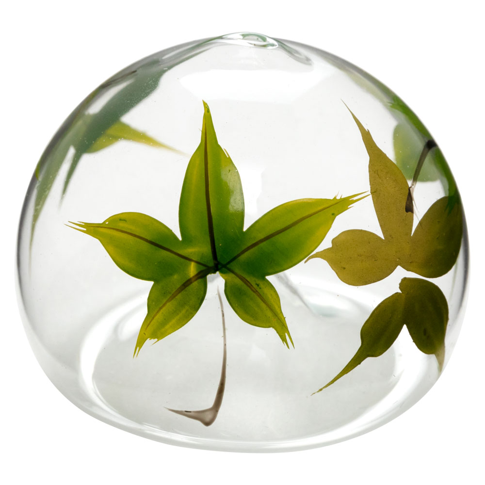 ビードロ浮き玉・小 もみじ(T-014) 水に浮かべて涼を感じるインテリア 木之本 福島県の工芸品 Glass float, Fukushima craft