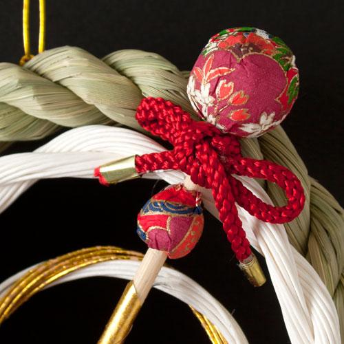 正月飾り 注連飾り 竹治郎 雪月風花 花かんざし 新潟県南魚沼の正月飾り 1700サイズ Japanese New Year decoration made of straw