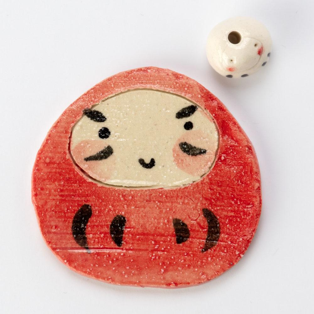 瀬戸焼 紅白ダルマ香立 (K4300) 愛知県の工芸品 Seto-yaki Incense stand, Aichi craft