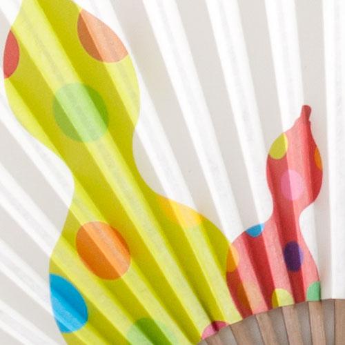 【扇子】傾奇扇 彩り六瓢箪 (SA-019) 和紙の扇子7寸5分 和詩倶楽部 Sensu fan, Washi-club ※在庫限り