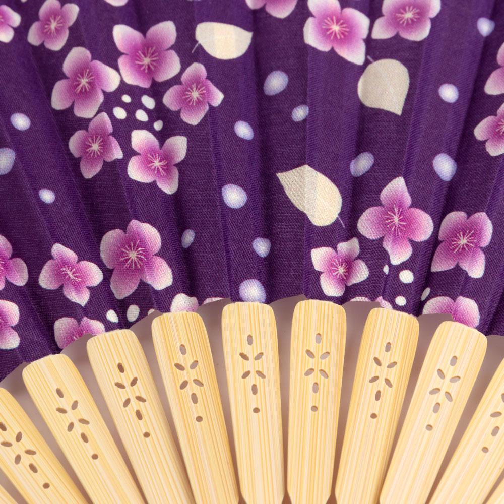 華やぎ扇子セット あじさい紫 スーベニール 刺繍入り布貼り扇子 扇子袋付き Sensu fan