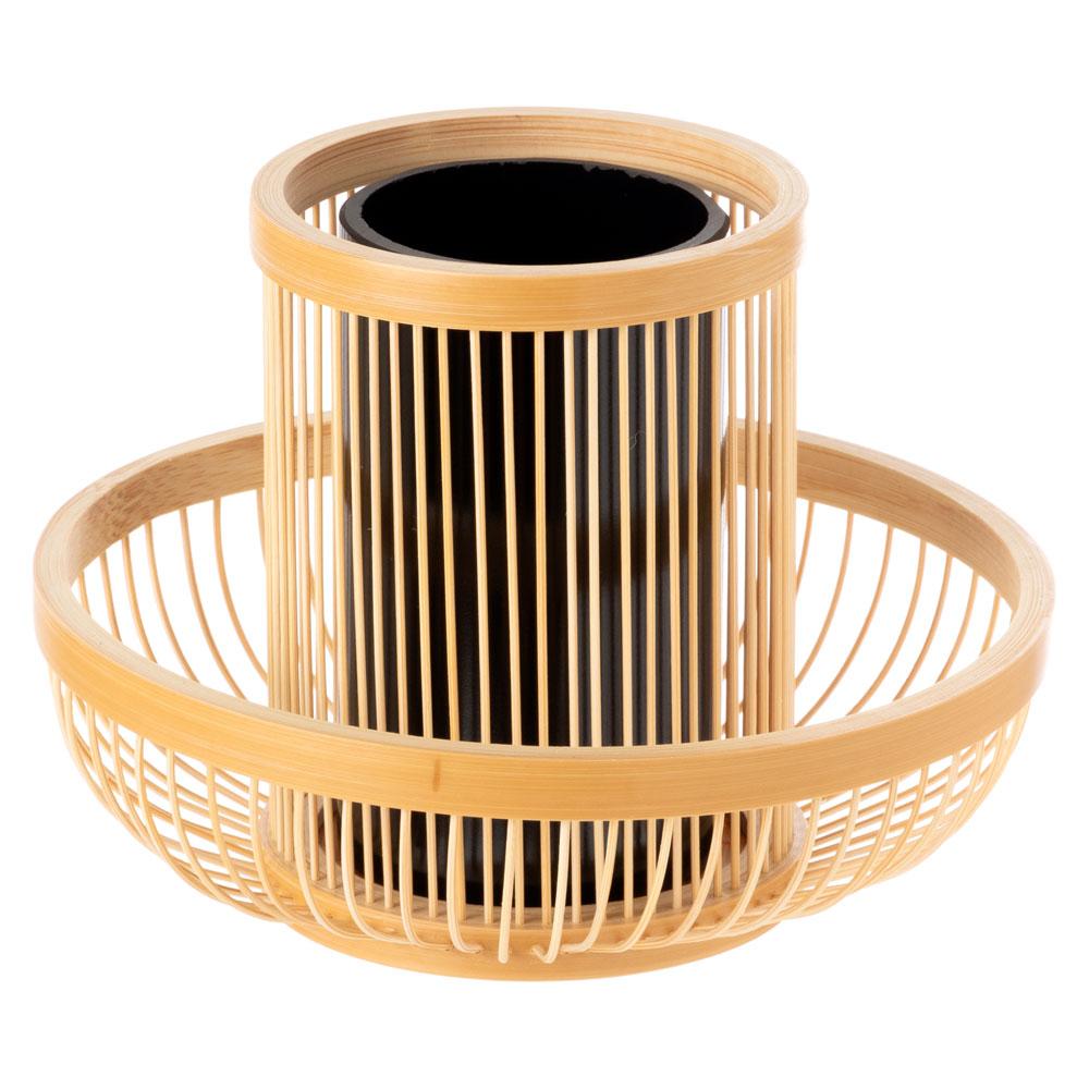 駿河竹千筋細工 花器 水仙 静岡県伝統工芸品 黒田倫枝 作 Suruga-takesensuji-zaiku, Vase made of bamboo sticks