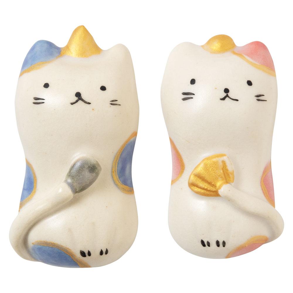 猫雛箸置き (HK845) 瀬戸焼 桃の節句 ひな祭りのテーブルウェア Seto-yaki Chopstick rest of Hina dolls