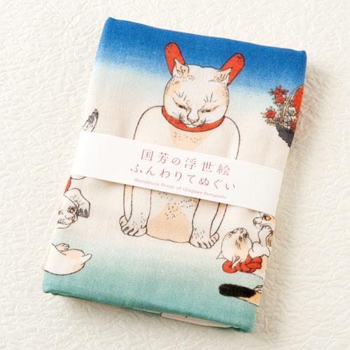 ふんわりてぬぐい かゞ身団扇 国芳の浮世絵 二重ガーゼ手ぬぐい Japanese towel of ukiyoe