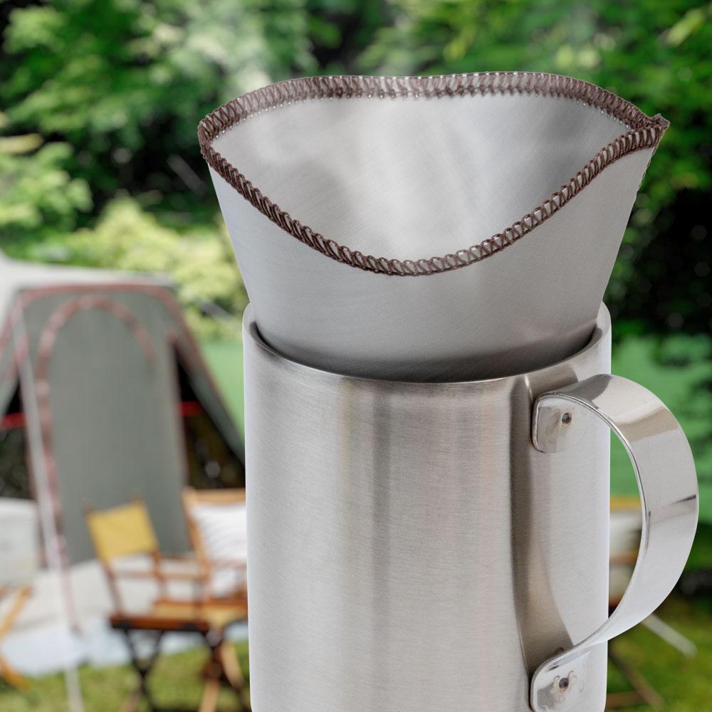 ステンレスマグカップ230+コーヒーフィルターセット アウトドアでコーヒーを手軽に楽しめます キャンプ・バーベキュー 1杯分だけ作りたい時に