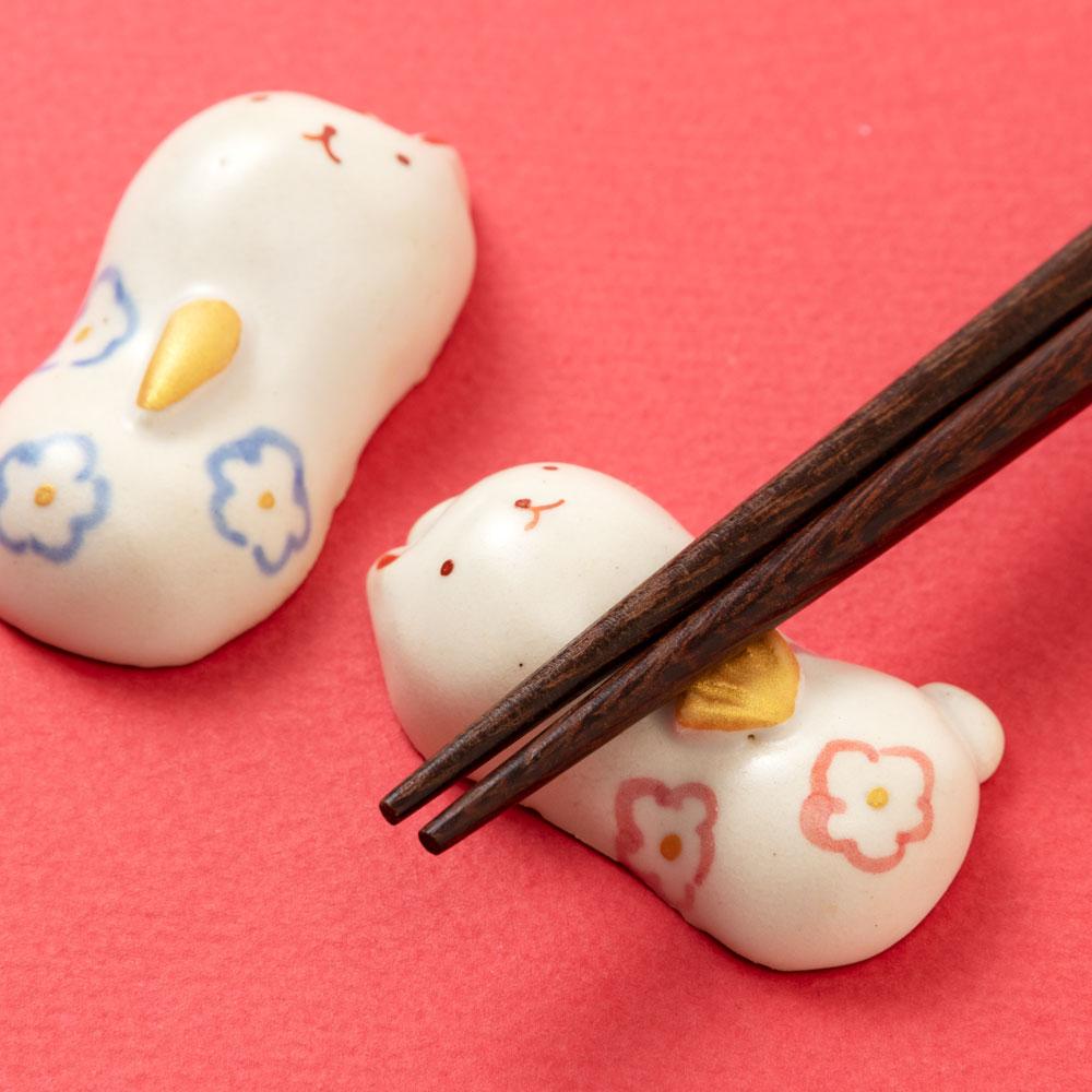 兎雛箸置き (HK846) 瀬戸焼 桃の節句 ひな祭りのテーブルウェア Seto-yaki Chopstick rest of Hina dolls