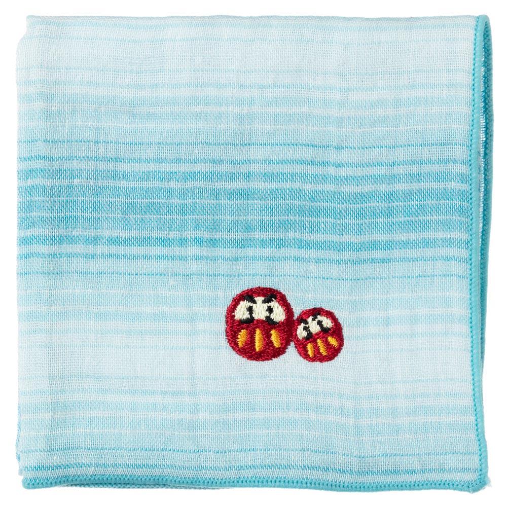 縁起ハンカチ だるま(グラデーション) 刺繍入りガーゼハンカチ スーベニール Japanese pattern embroidered gauze handkerchief