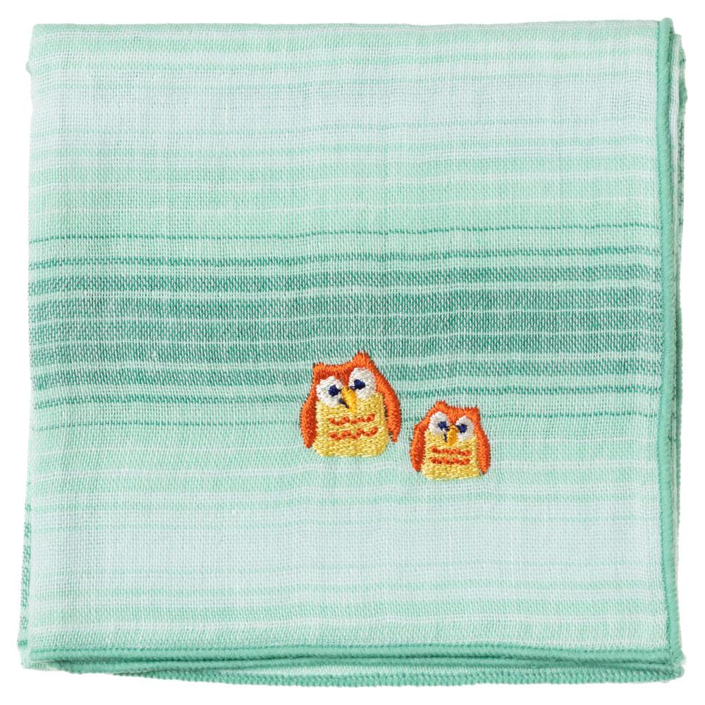 縁起ハンカチ フクロウ(グラデーション) 刺繍入りガーゼハンカチ スーベニール Japanese pattern embroidered gauze handkerchief