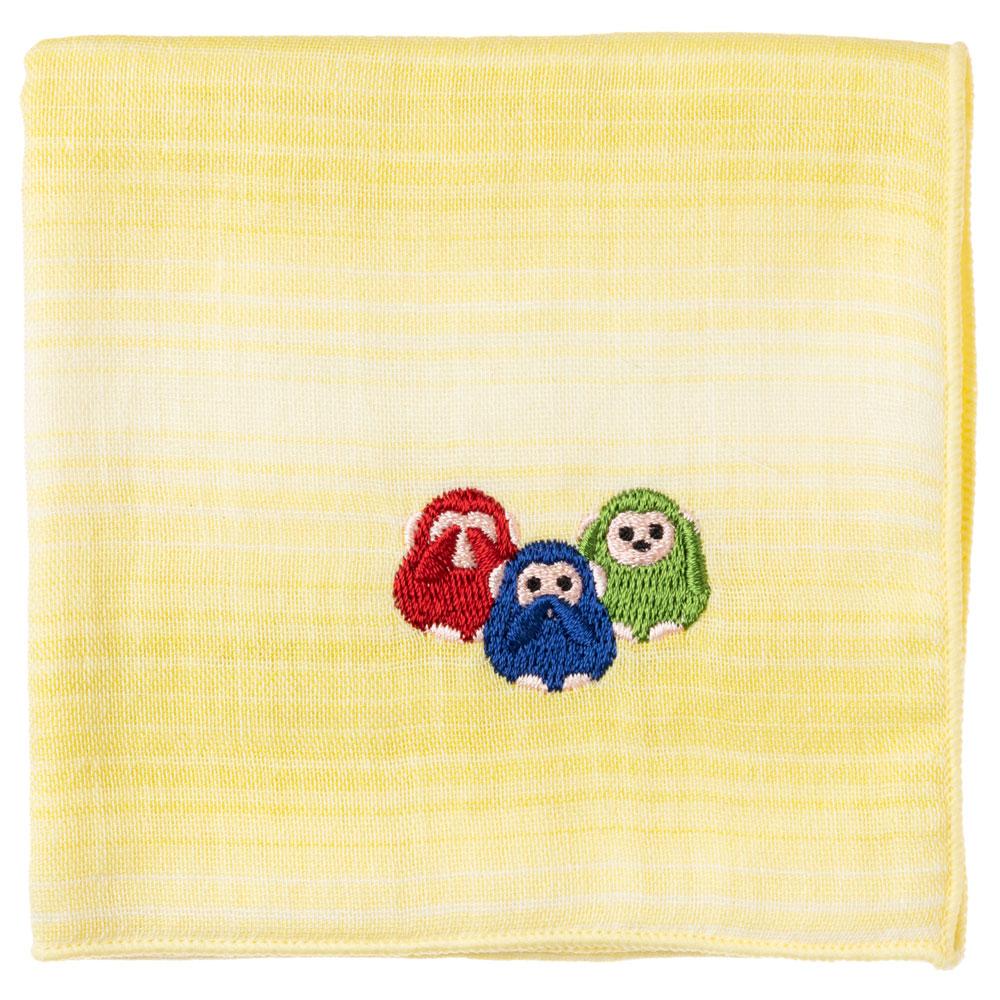 縁起ハンカチ 三猿(グラデーション) 刺繍入りガーゼハンカチ スーベニール Japanese pattern embroidered gauze handkerchief
