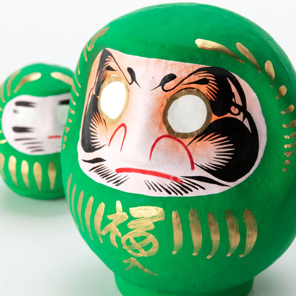 高崎だるま 健康祈願の緑だるまセット 2号+0.3号だるま 群馬県指定ふるさと伝統工芸品 Takasaki daruma, Good health, Gunmaken traditional craft