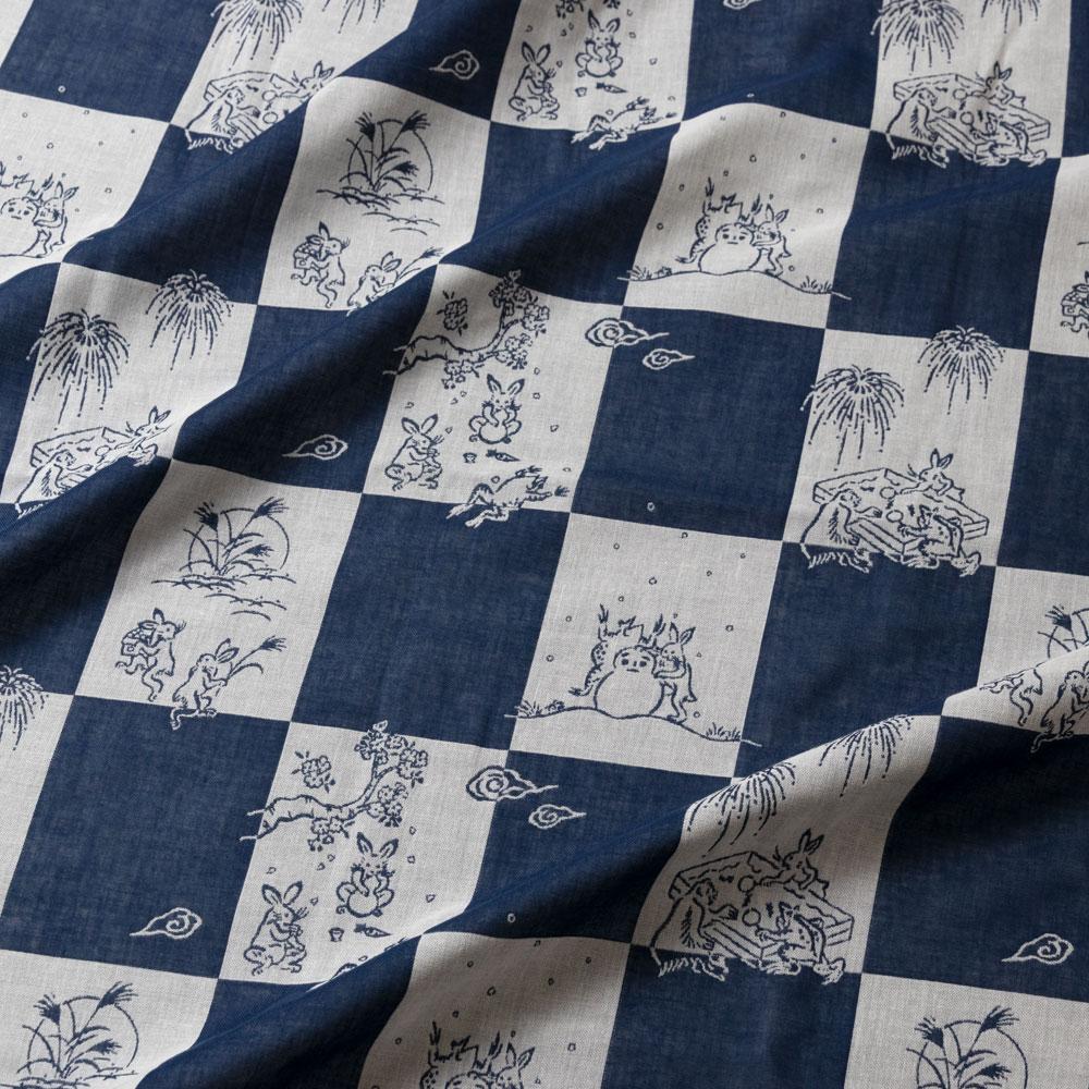鳥獣戯画 ダブルガーゼふろしき 三巾100cm 市松模様 Choju-giga Furoshiki, Wrapping cloth