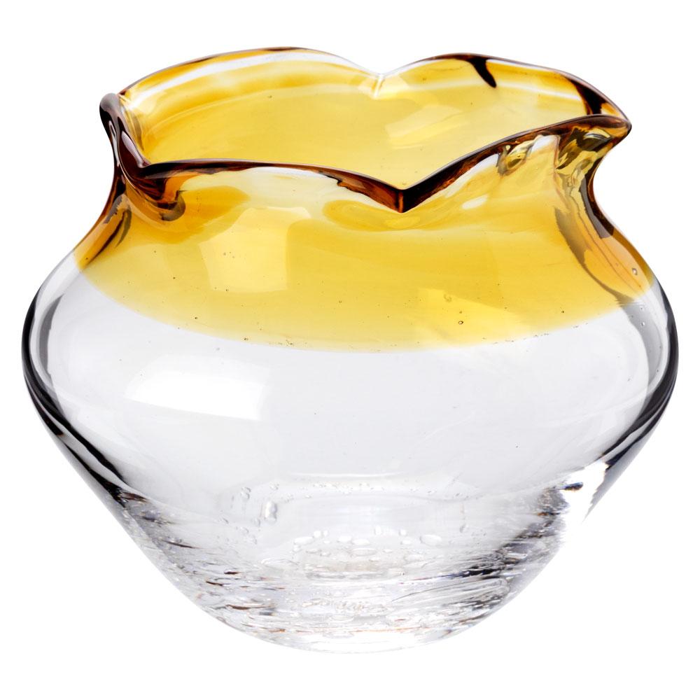 吹きガラスの金魚鉢 小(橙) 滋賀県の吹きガラス工房より Glass goldfish bowl, Shiga craft