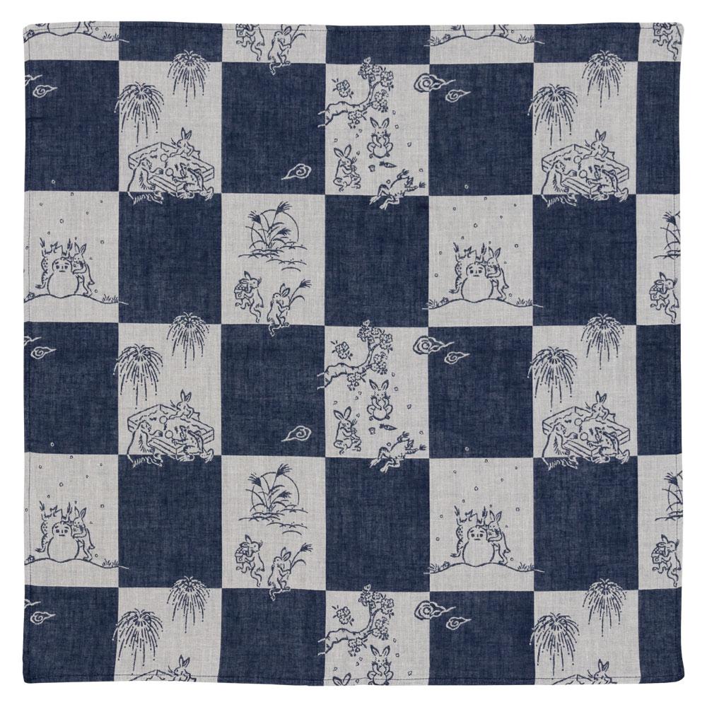 鳥獣戯画 ダブルガーゼふろしき チーフ48cm 市松模様 Choju-giga Furoshiki, Wrapping cloth