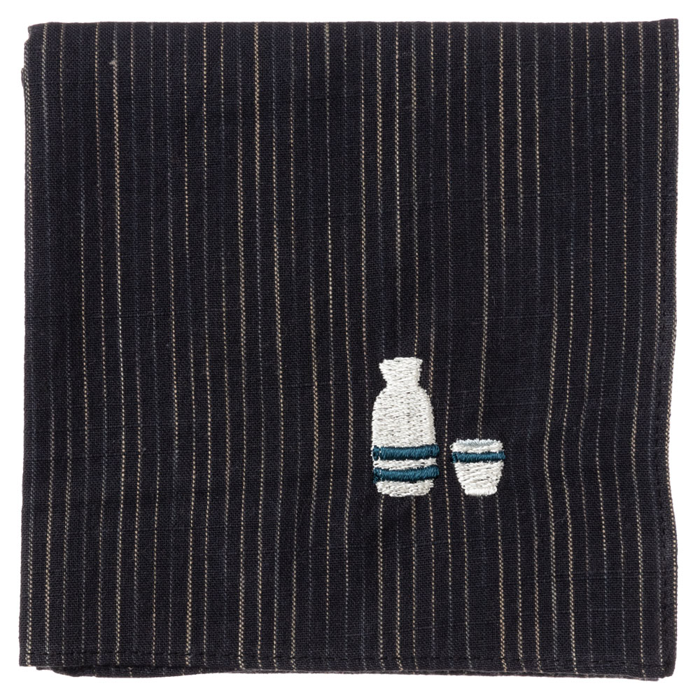 和のたしなみハンカチ 日本酒 刺繍入りガーゼハンカチ スーベニール Japanese pattern embroidered gauze handkerchief
