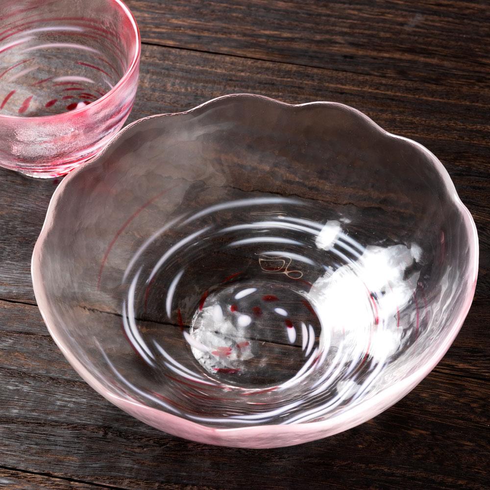 津軽びいどろ ぶっかけ麺鉢 ピンク (F-62857) そうめん・ひやむぎ・うどんなど麺類の盛鉢に ガラス食器 青森県の工芸品 Noodle bowl, Aomori craft