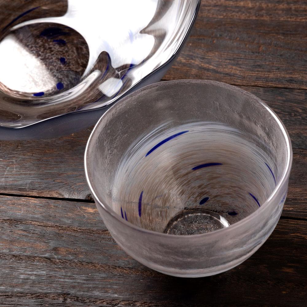 津軽びいどろ ガラスそうめん鉢セット ブラック(中鉢1個+つゆ鉢2個) そうめん・ひやむぎ・うどんなど ガラス食器 青森県の工芸品 Noodle bowl and Small bowl set, Aomori craft