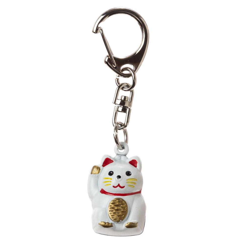 招き猫キーホルダー 白 鈴タイプ (KS) Luckycat keyring, White