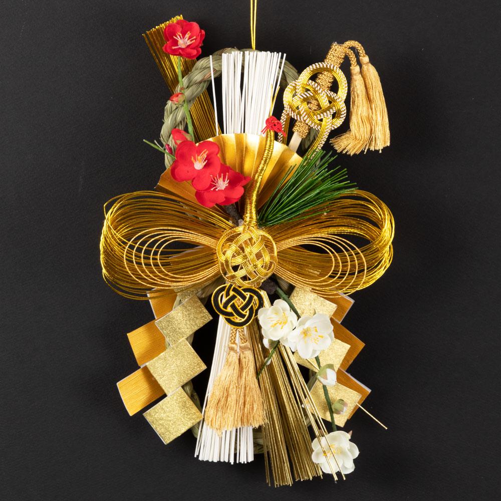 正月飾り 注連飾り 竹治郎 雪月風花 晄鶴(こうかく) 新潟県南魚沼の正月飾り 3800サイズ Japanese New Year decoration made of straw