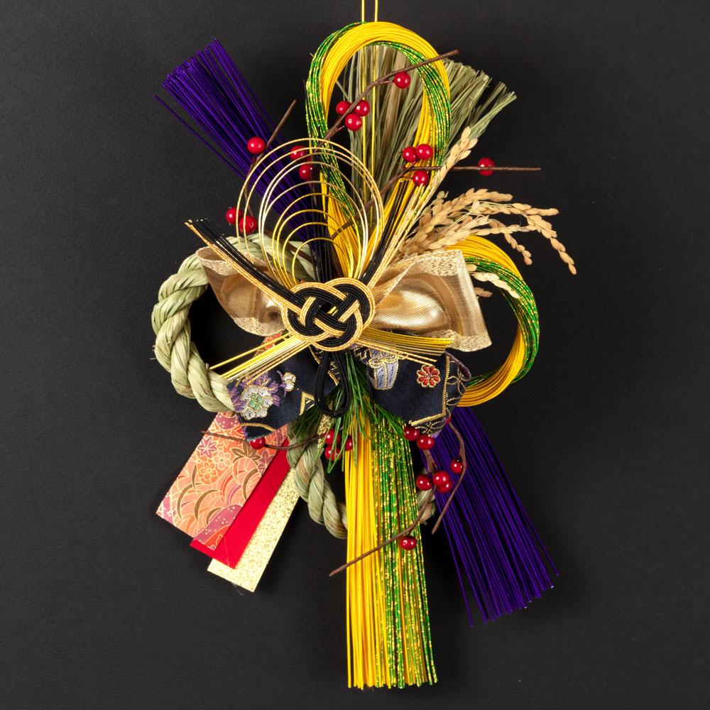 正月飾り 注連飾り 竹治郎 雪月風花 絆(きずな) 新潟県南魚沼の正月飾り 3800サイズ Japanese New Year decoration made of straw