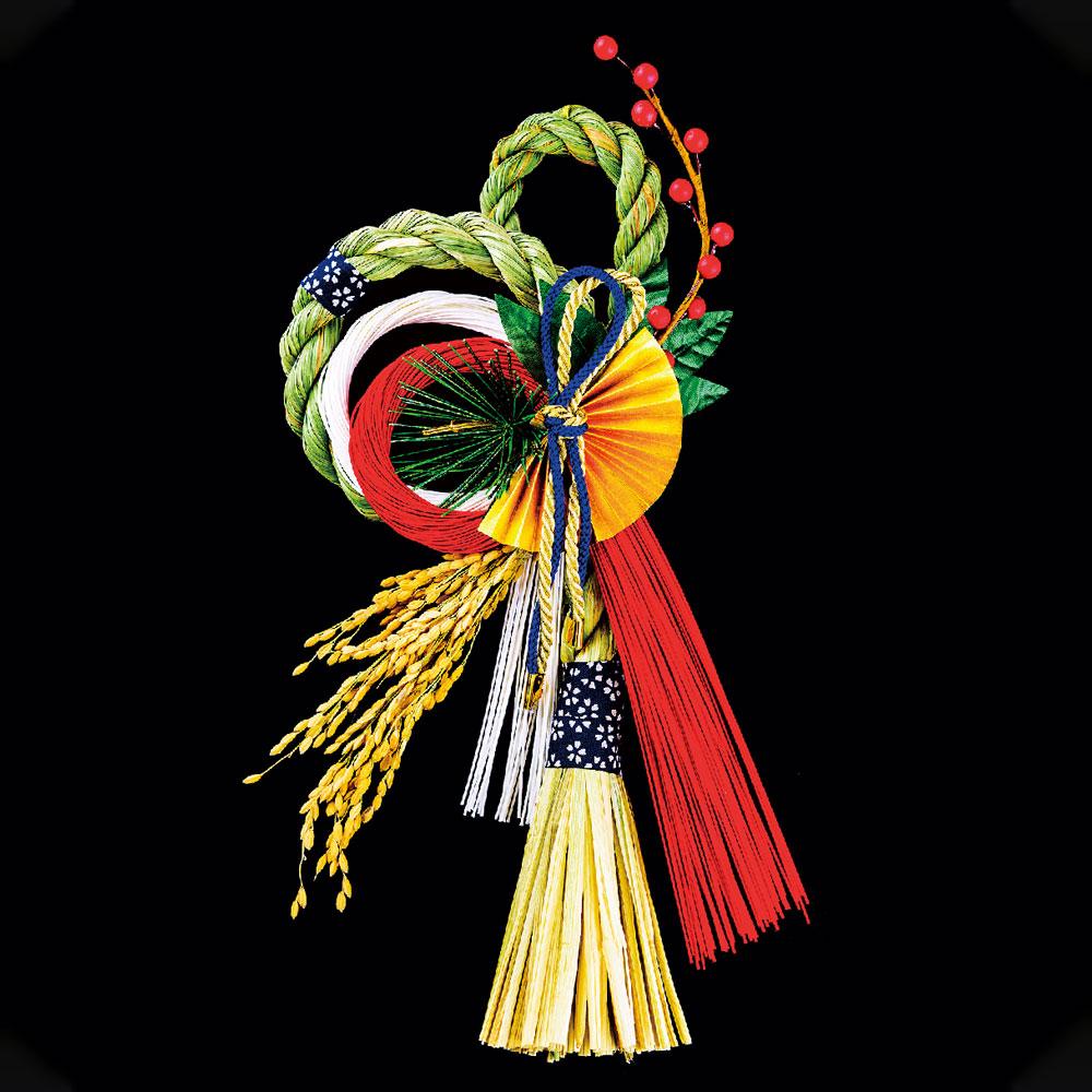 正月飾り 注連飾り 竹治郎 雪月風花 式部(しきぶ) 新潟県南魚沼の正月飾り 2800サイズ Japanese New Year decoration made of straw