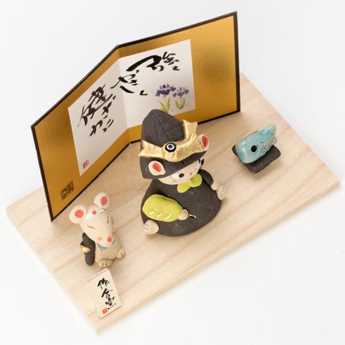ひろ陶房 猫若大将 (MK154) 瀬戸焼の皐月飾り 端午の節句・五月人形 Boys' festival decoration, Setoyaki, Aichi craft
