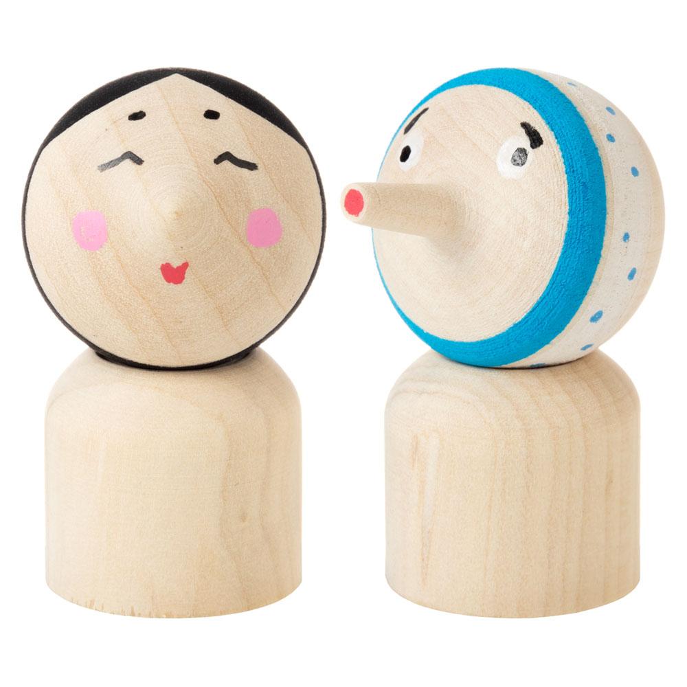 こま人形セット 招福おかめ&ひょっとこ 遊べるインテリア 独楽 福岡県の木工品 Top doll, Fukuoka craft
