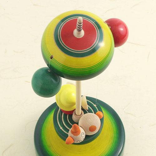 空中散歩独楽 クリ坊とねこ 山形県の木地玩具