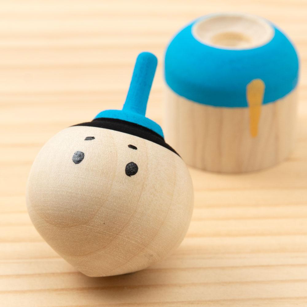こま人形セット お内裏さま&お雛さま ひなまつりの遊べるインテリア 独楽 福岡県の木工品 Top doll, Fukuoka craft