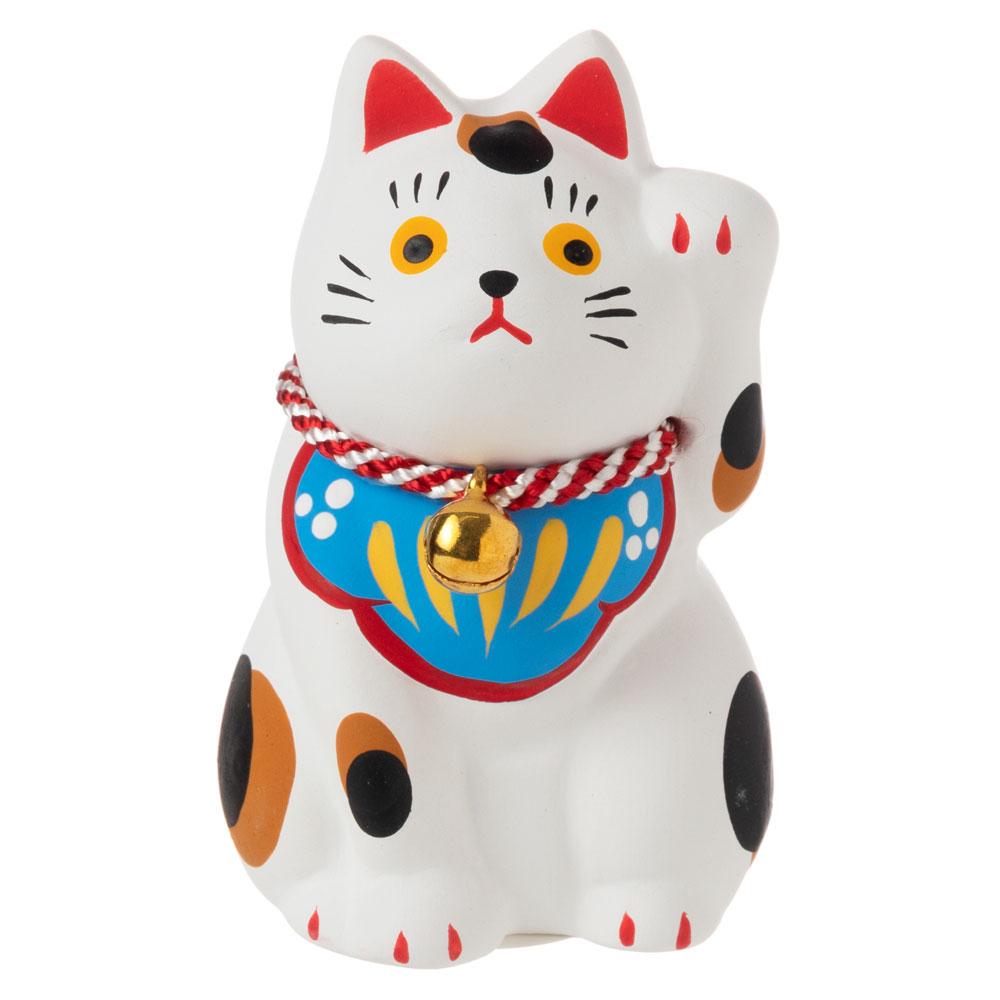 民芸招き猫 白(小)招福 (K4509) 瀬戸焼の置物 愛知県の工芸品 Lucky cat, Seto-yaki