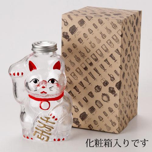 招き猫 菓子ビン 小 レトロ感ある懐かしのガラス瓶 Confectionary bottle of glass