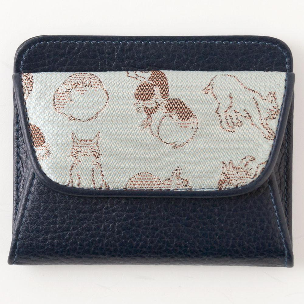 京都 あらいそ 西陣織名物裂 ねこ尽くしコインケース 青 Kyoto nishijin, Coin purse