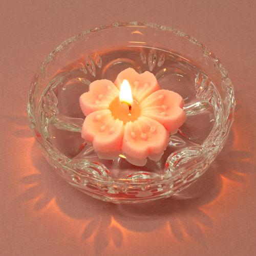 さくらの花めぐり アロマキャンドルとガラス器のセット ペガサスキャンドル Aroma Candle