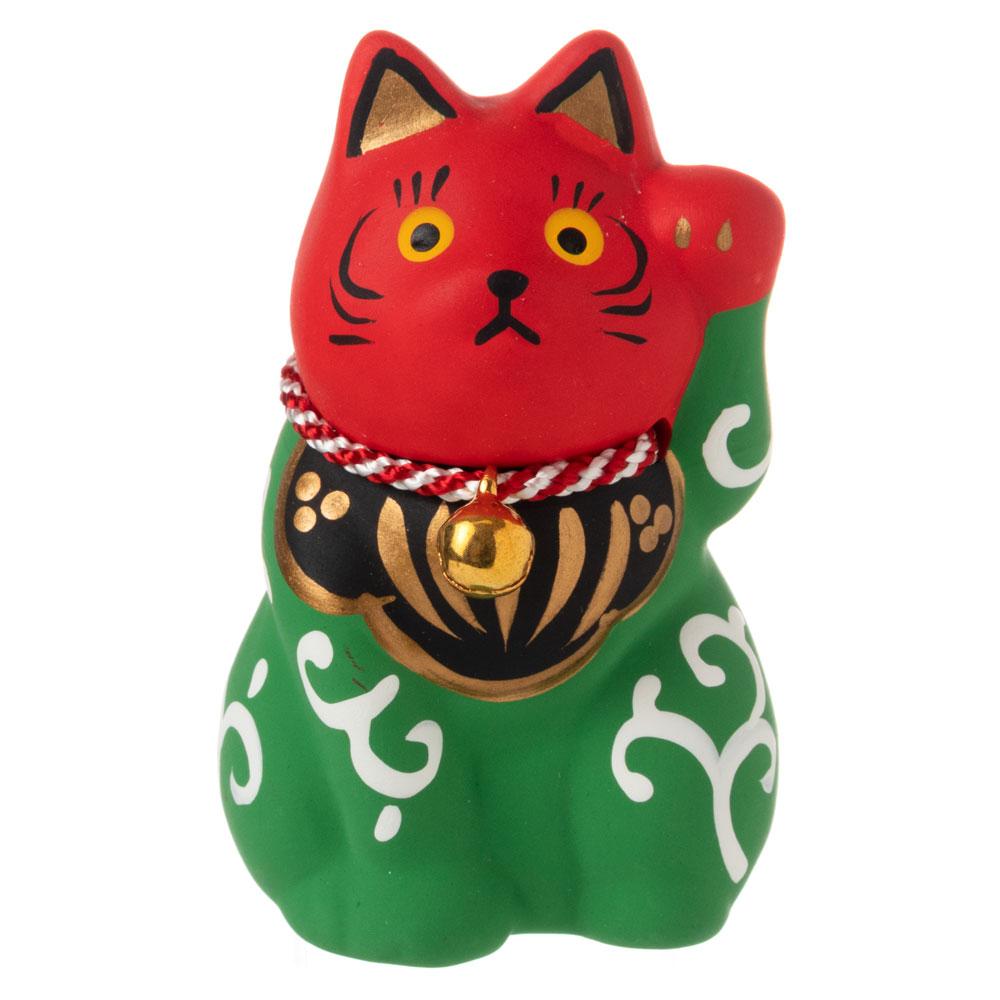 民芸招き猫 獅子(小)無病息災 (K4512) 瀬戸焼の置物 愛知県の工芸品 Lucky cat, Seto-yaki