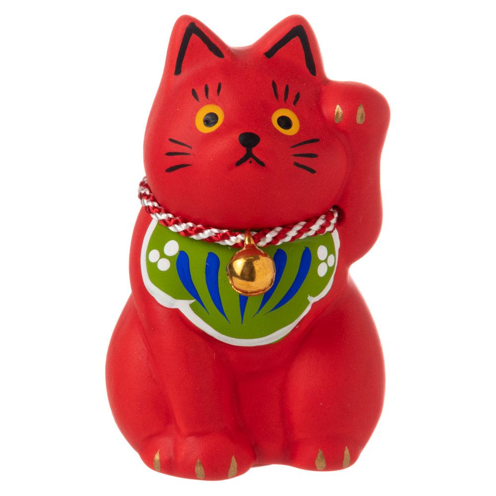 民芸招き猫 赤(小)病除 (K4513) 瀬戸焼の置物 愛知県の工芸品 Lucky cat, Seto-yaki
