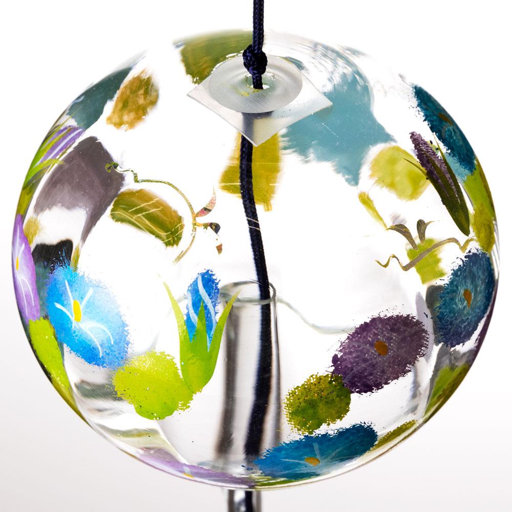 ぎやまん風鈴 ちぎり絵 あさがお クリスタルガラス風鈴 木之本 福島県の工芸品 Wind bell, Fukushima craft
