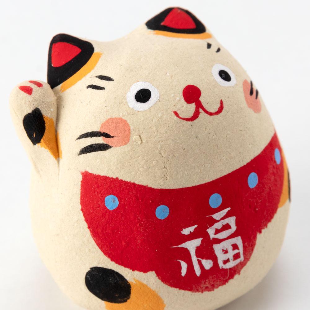 張子風・招き猫 (K4666) 瀬戸焼の置物 愛知県の工芸品 Lucky cat, Seto-yaki