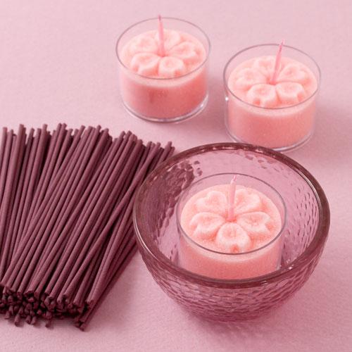 あかりとかおり 桜 キャンドルと線香のセット ペガサスキャンドル Candle and incense set