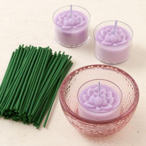 あかりとかおり 蓮 キャンドルと線香のセット ペガサスキャンドル Candle and incense set