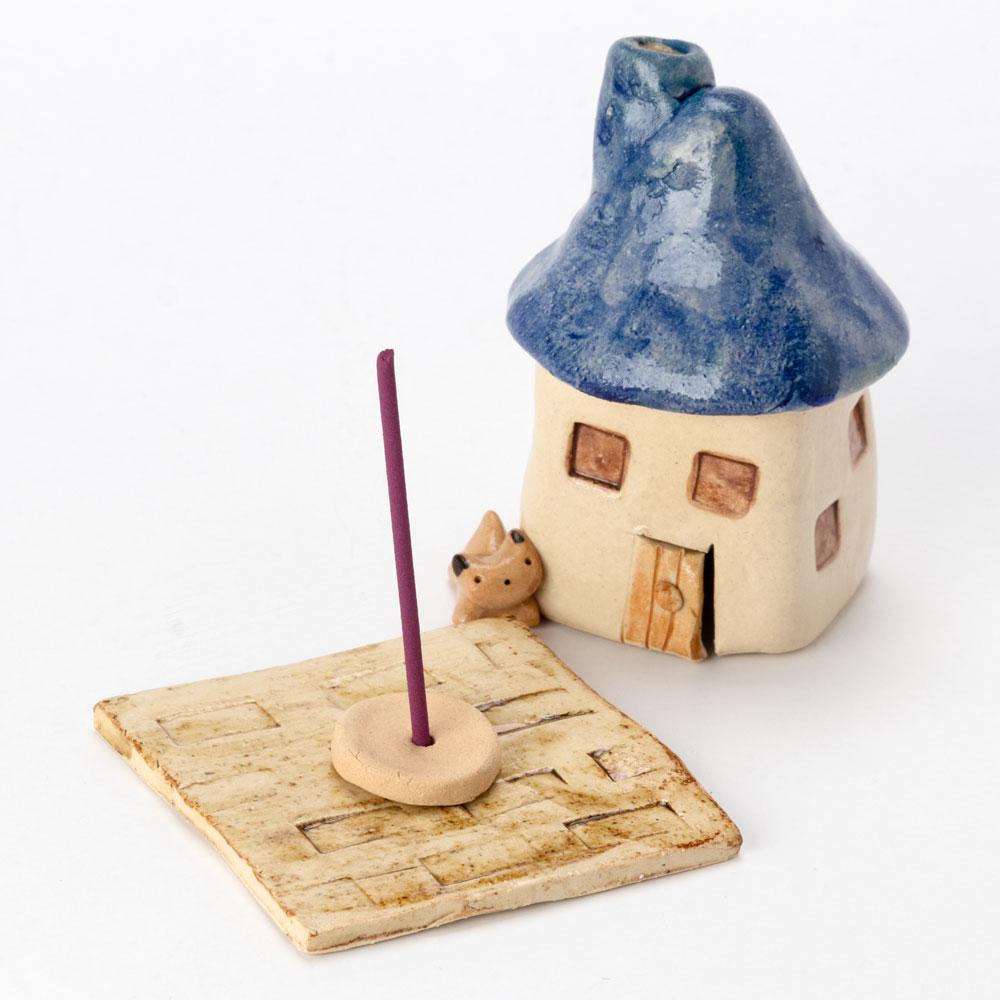 煙突家の香炉・青 (K4359) 工房SAO 瀬戸焼の香立て・香炉 愛知県の工芸品 Incense burner, Seto-yaki
