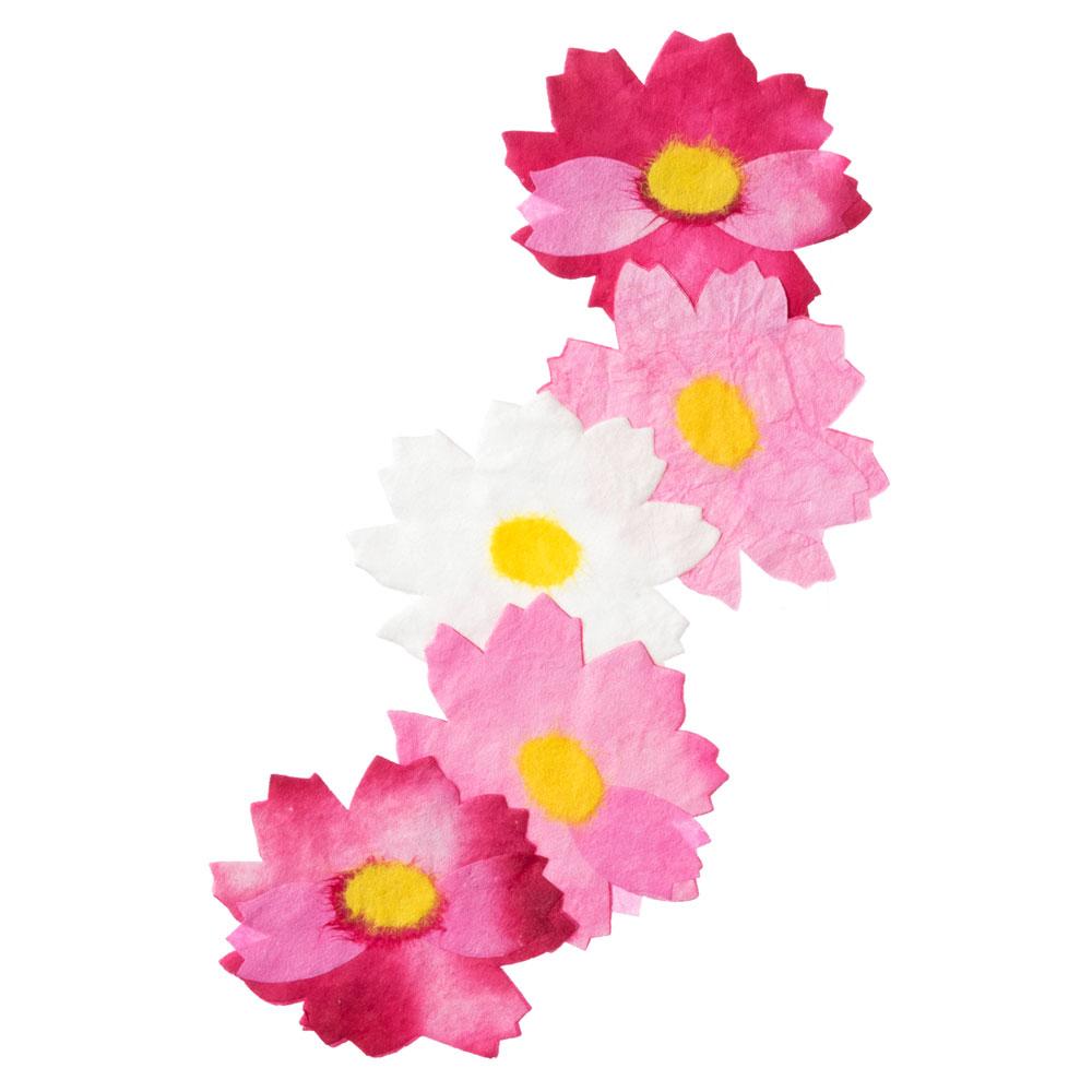 季節のオーナメント コスモス 和紙の花 しおり・テーブルウェアにも めでたや Seasonal decoration, Japanese paper ornament