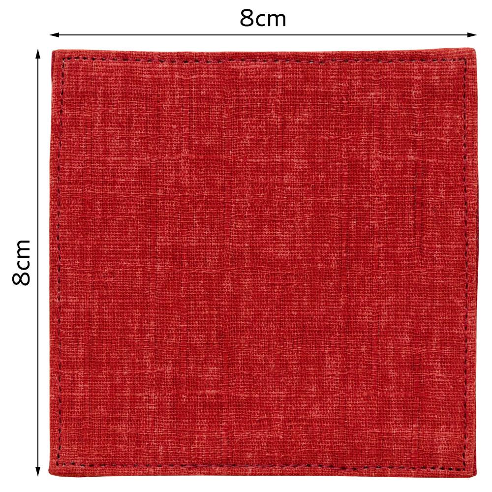 百道発信 四季彩スクエア 8cmミニコースター 赤 (IKI-1466) リバーシブル 福岡県の布製品 Fabric coaster, Fukuoka craft