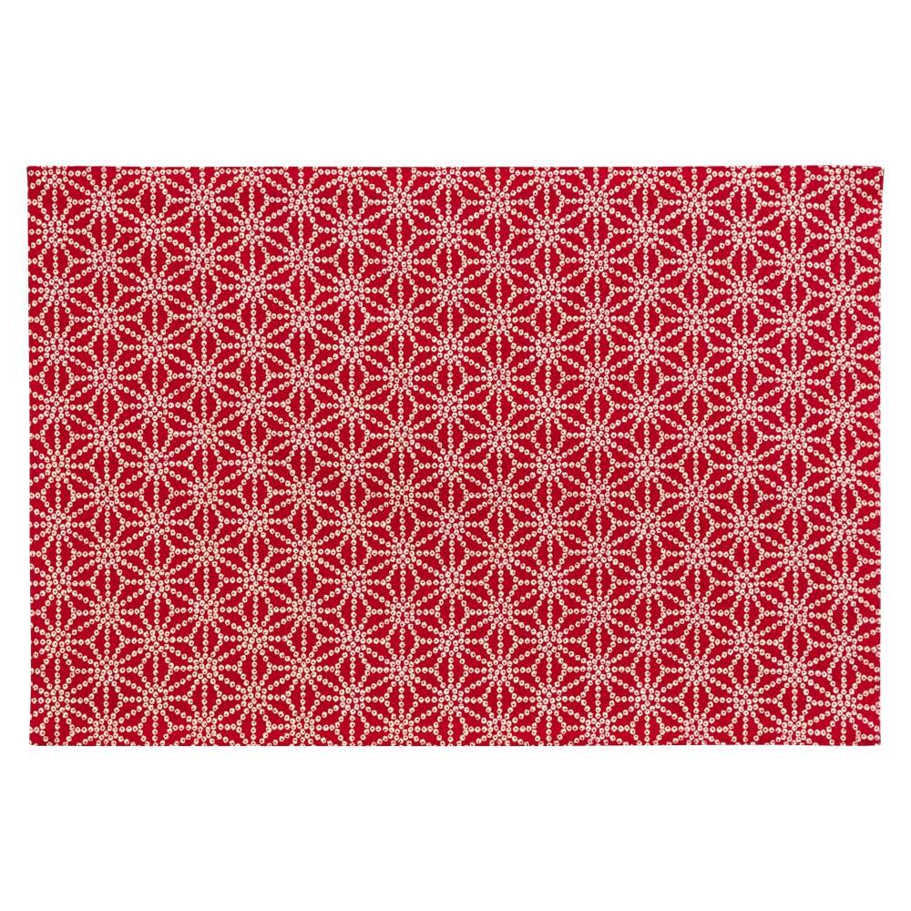 百道発信 しずく ランチョンマット 赤 (IKI-1471) 45×31cm 福岡県の布製品 Fabric place mat, Fukuoka craft